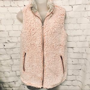 THREAD & SUPPLY PINK SHERPA WOMENS VEST NWT